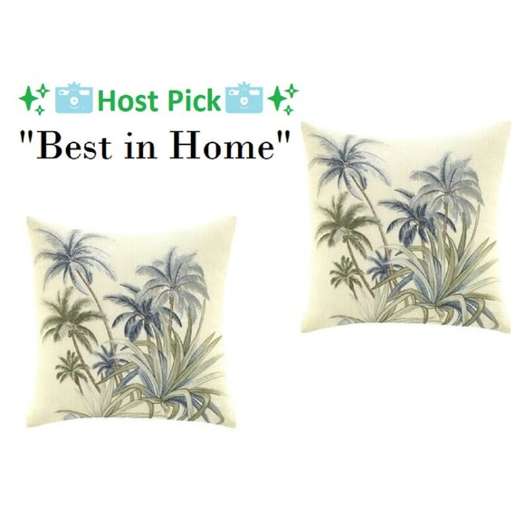 2 TOMMY BAHAMA Serenity Palms Embroidered Pillows